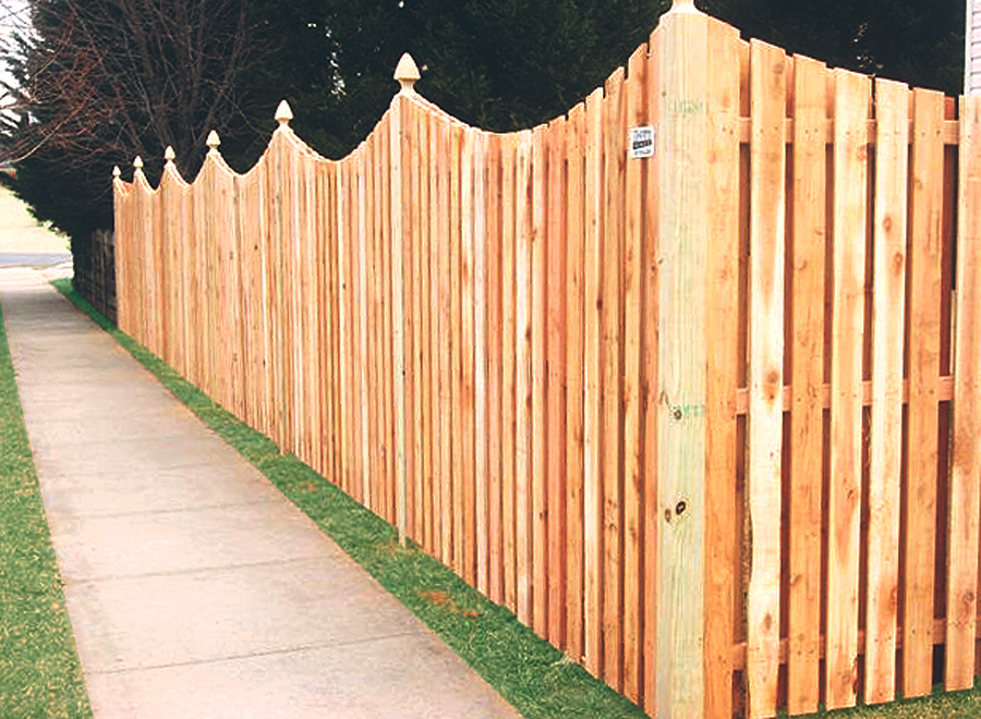 Scalloped Wood Privacy Fence